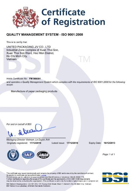 Chứng Nhận Hệ Thống Quảng Lý Chất Lượng ISO9001:2008