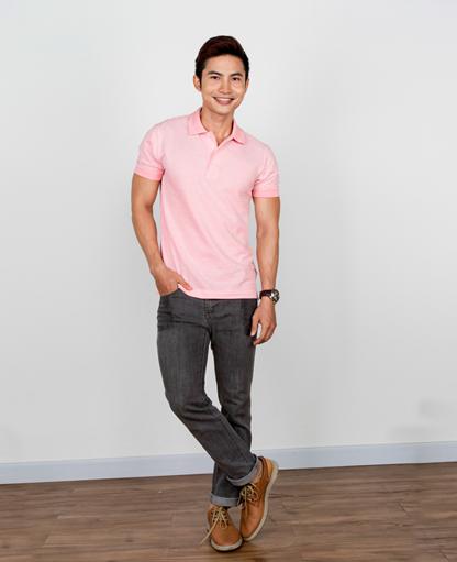 áo thun polo sọc trắng hồng nhạt