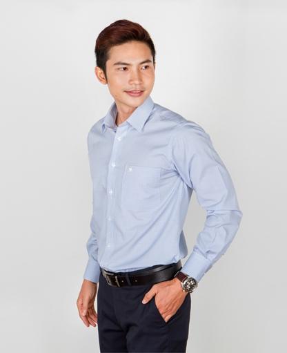 áo sơ mi nam dài tay xanh hoa văn