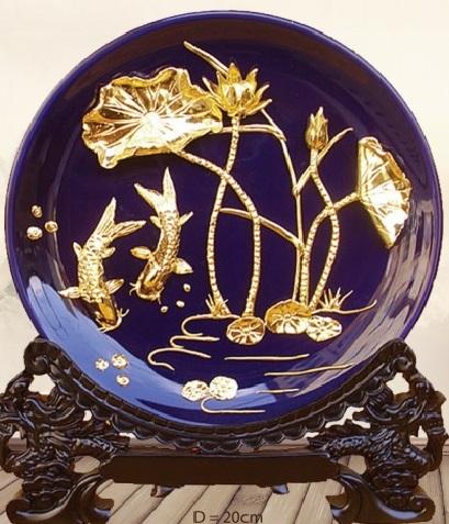 Đĩa biểu trưng 24k cá và hoa sen - Màu xanh