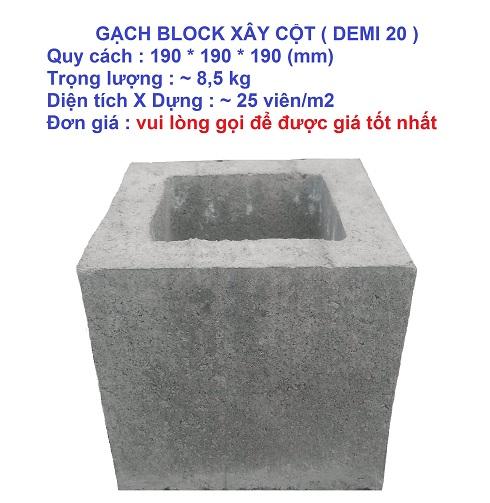 Gạch block xây cột