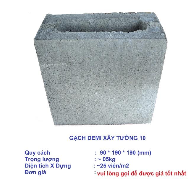Gạch demi xây tường 10