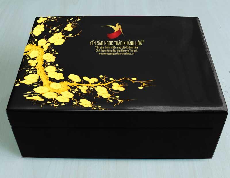 Quà tặng hộp sơn mài cao cấp - Yến sào Ngọc Thảo Khánh Hòa (đen )