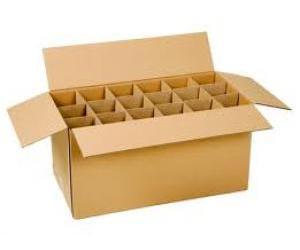 thùng carton chứa vách ngăn để đựng chai thủy tinh