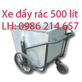 Xe đẩy rác tôn 500l