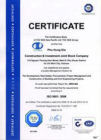 Chứng chỉ chứng nhận ISO 9001:2008