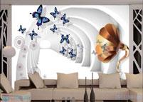 Gạch 3D phòng khách