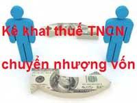 Kê khai thuế TNCN chuyển nhượng vốn