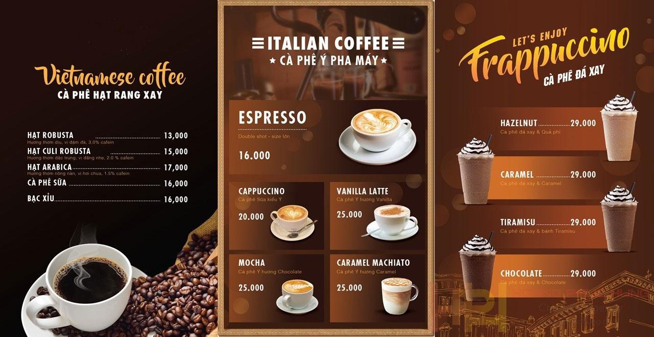 Thiết kế menu quán cà phê
