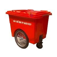 Thùng rác nhựa composite 660L 3 bánh xe
