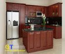 Tủ bếp kết hợp bar gỗ xoan đào