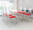 Bộ bàn kiếng và ghế xếp nệm inox FELIX