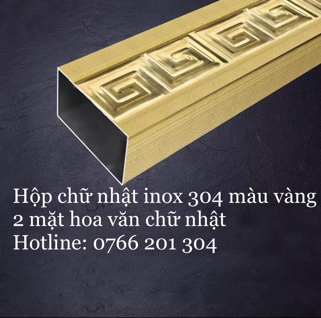Hộp chữ nhật Inox 304 Màu Vàng