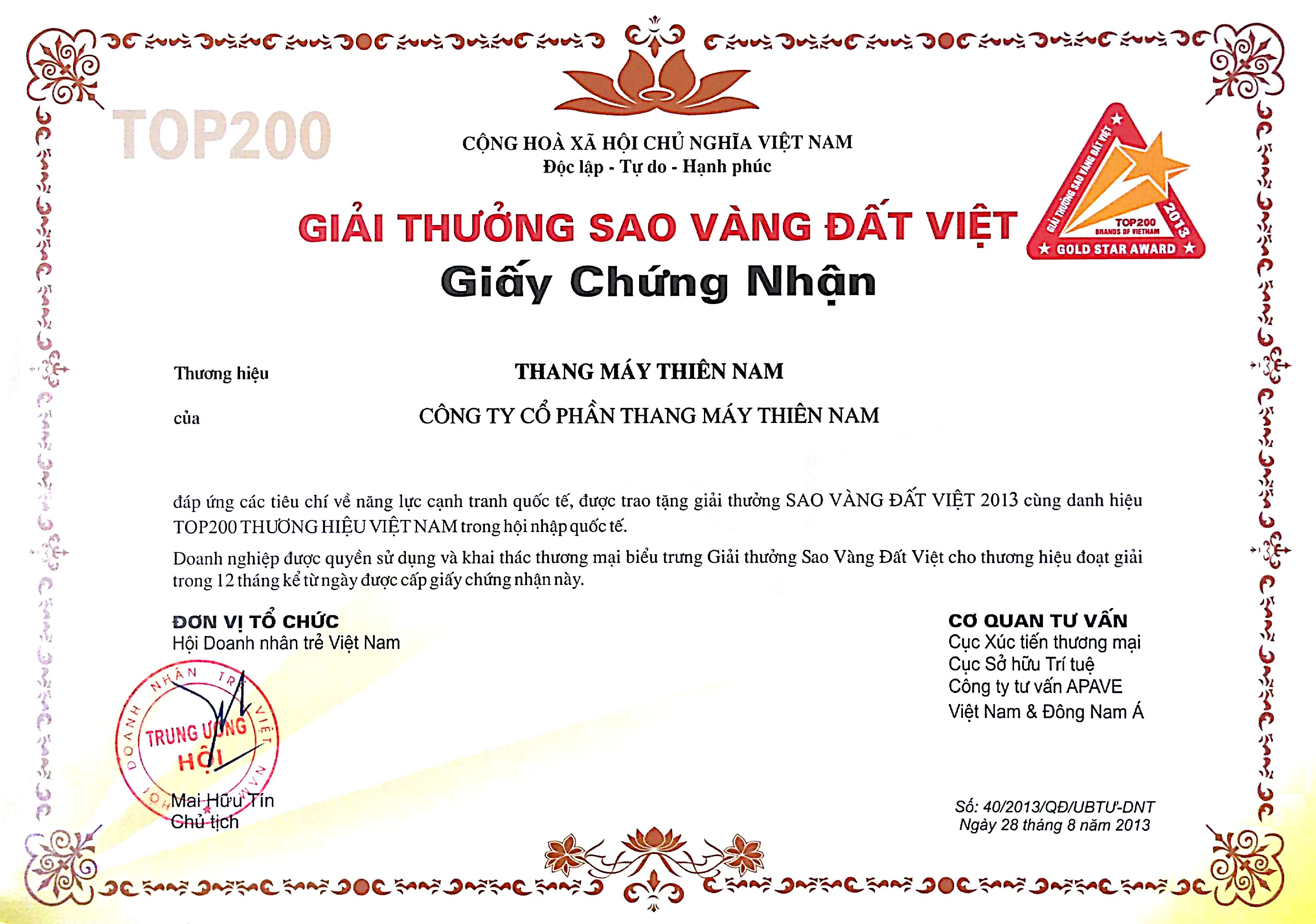 Giải thưởng Sao Vàng Đất Việt 2013