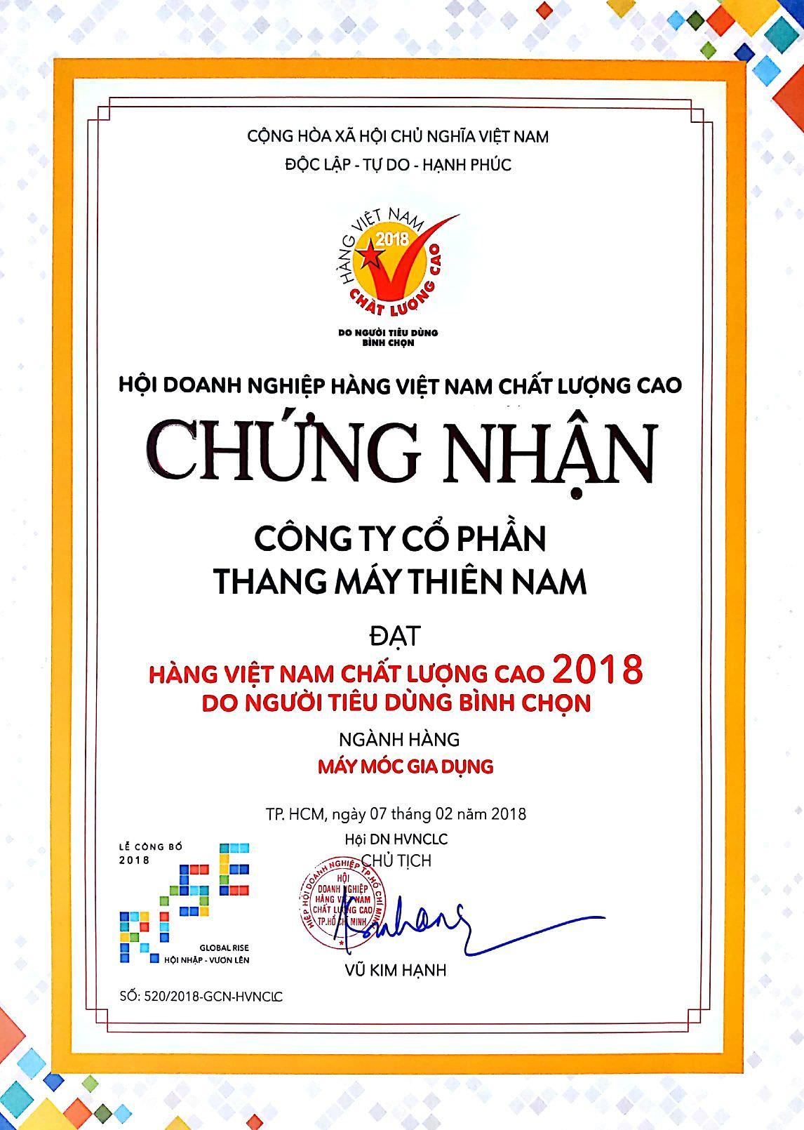 Hàng Việt Nam chất lượng 2018