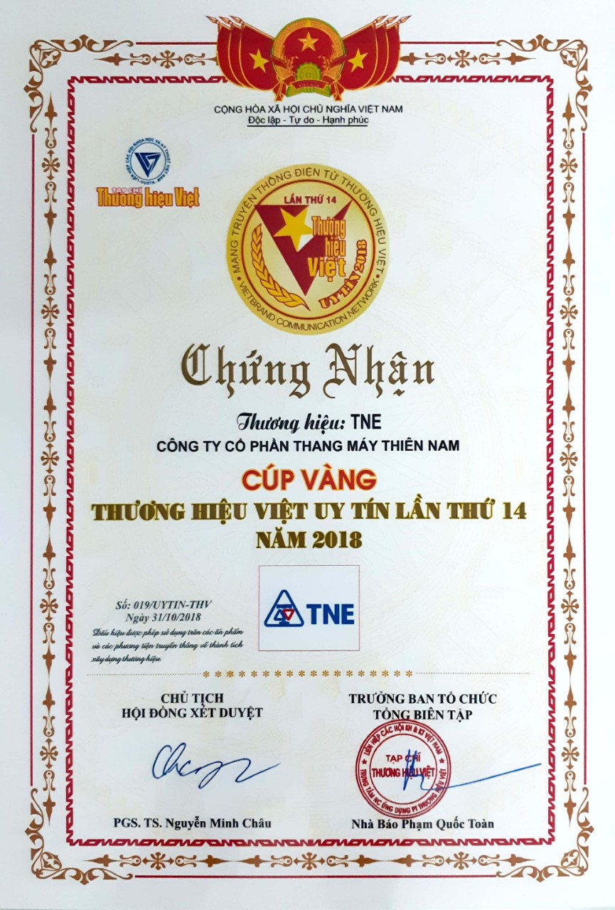 Chứng nhận thương hiệu Việt uy tín 2018