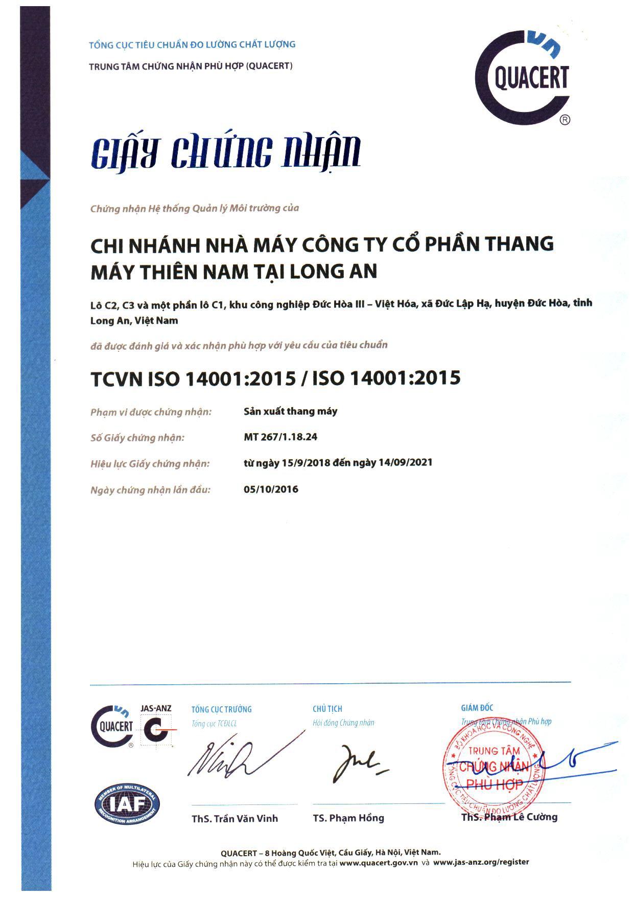 Chứng chỉ quản lý môi trường ISO 14001-2015