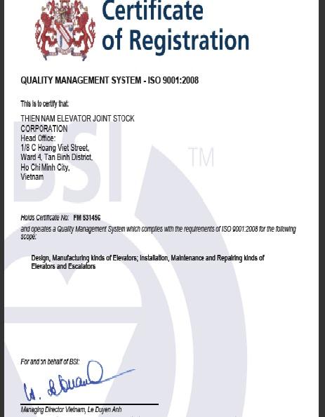 Chứng nhận ISO 9001:2008 năm 2011