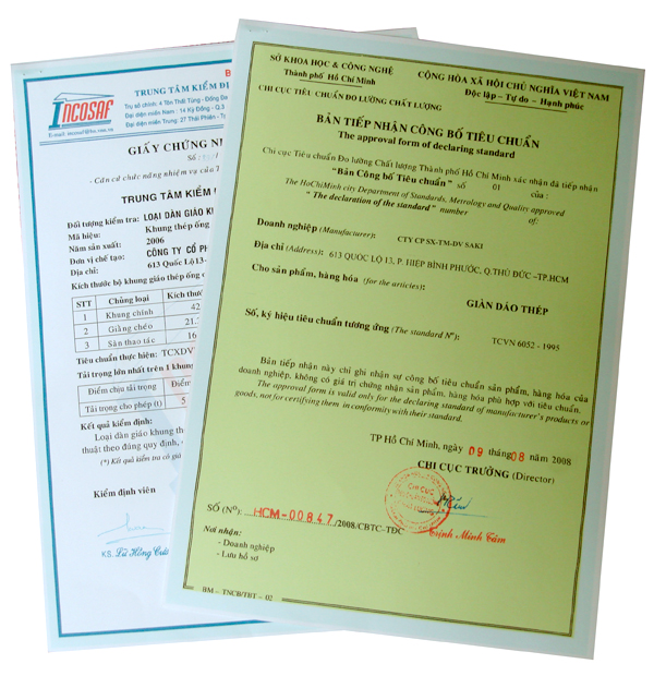 Bản tiếp nhận công bố tiêu chuẩn