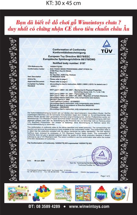Chứng nhận CE tiêu chuẩn châu Âu