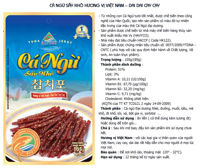 Cá ngừ sấy khô hương vị Việt Nam