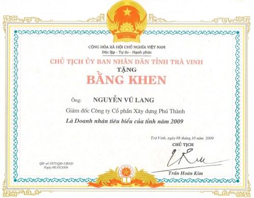 Chứng nhận năm 2009