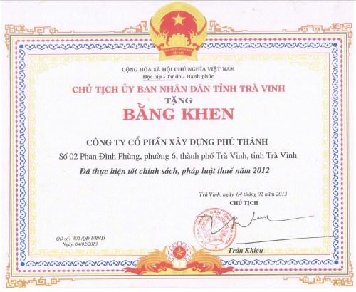 Chứng nhận năm 2012