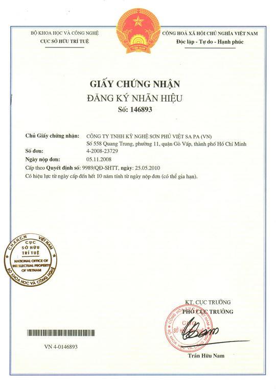 Chứng nhận nhận đăng ký nhãn hiệu