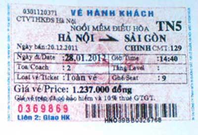 Vé tàu Hà Nội- Sài Gòn