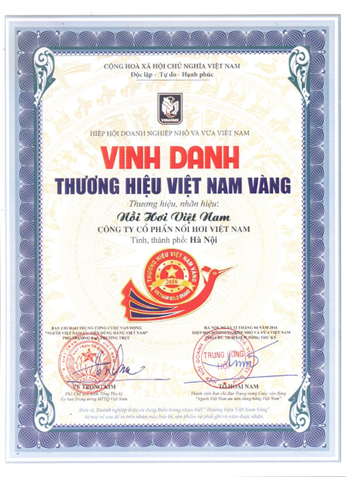 Chứng nhận Thương Hiệu Việt Nam Vàng