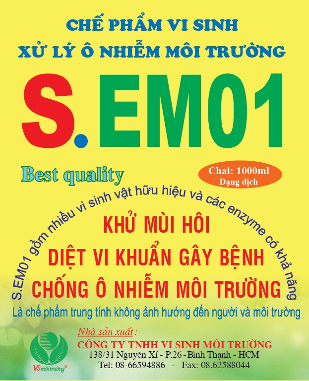 Chế phẩm vi sinh xử lý ô nhiễm S-EM01