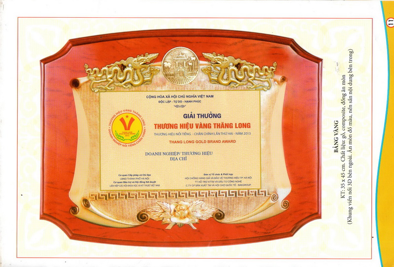 Giải thưởng thương hiệu vàng Thăng Long