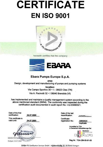 Chứng Nhận Chất Lượng EBARA