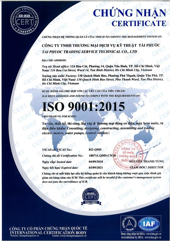 Chứng nhận ISO 9001 phiên bản 2015