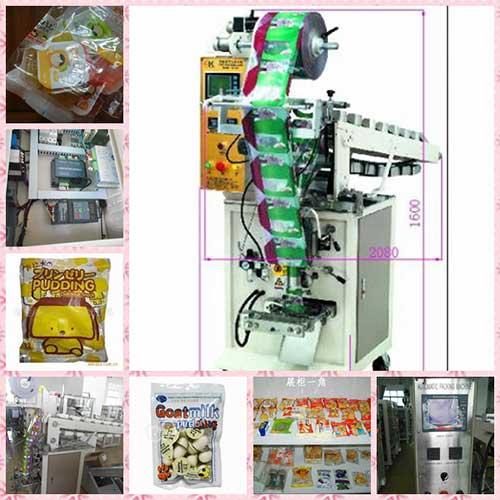 Máy đóng gói đứng cấp liệu dạng cốc có thổi khí cho bánh kẹo, snack