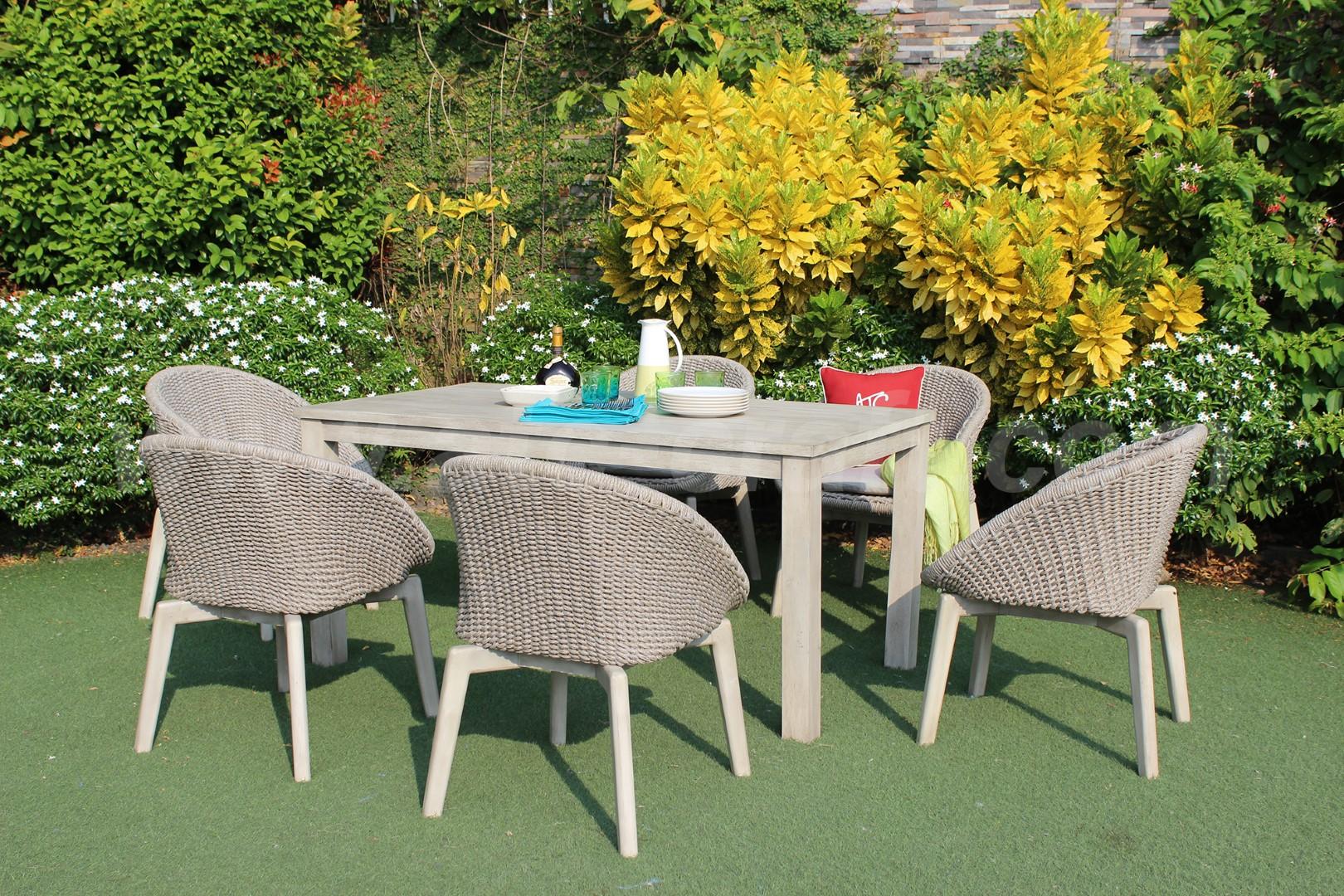 Bộ bàn ghế mây nhựa kết hợp gỗ