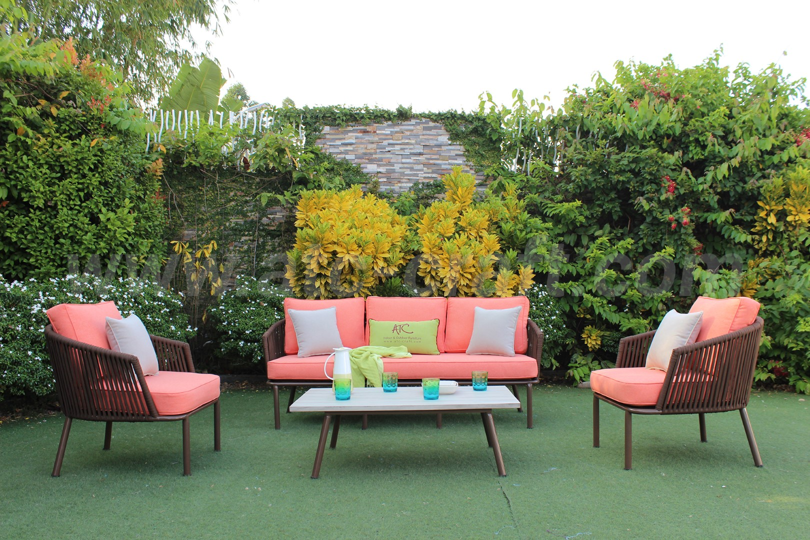 Bộ bàn ghế Sofa mây nhựa Coral