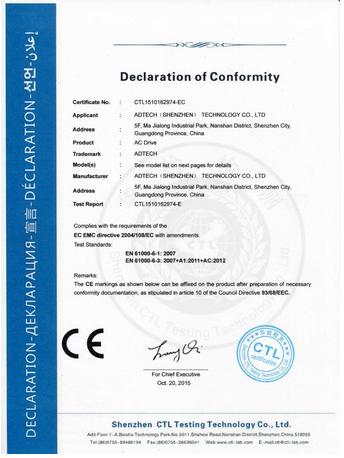 GCN biến tần Adtech đạt tiêu chuẩn CE