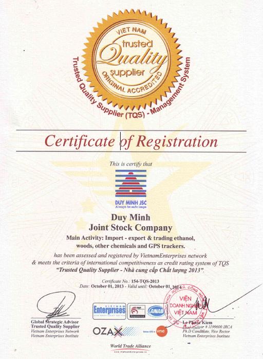 Chứng nhận NCC chất lượng 2013