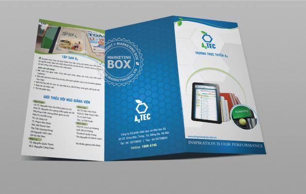 Thiết kế tờ gấp 3 brochure giáo dục đào tạo trường A0TECH