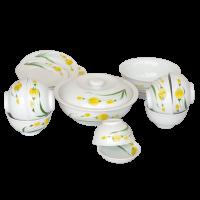 Bộ đồ ăn sứ hoa tuylip vàng 13 sản phẩm