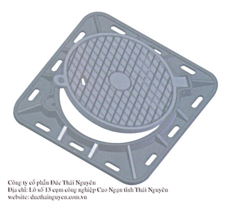 Nắp ga thân vuông nắp tròn có bản lề