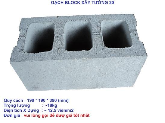 Gạch block xây tường 20
