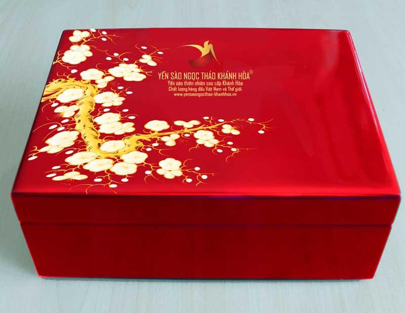 Quà tặng hộp sơn mài cao cấp - Yến sào Ngọc Thảo Khánh Hòa (đỏ )