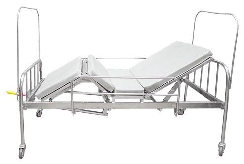 Giường bệnh nhân inox 2 tay quay có bô