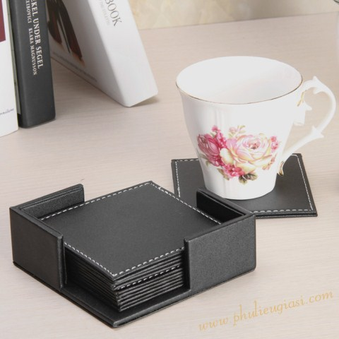Black Leather Coaster Set