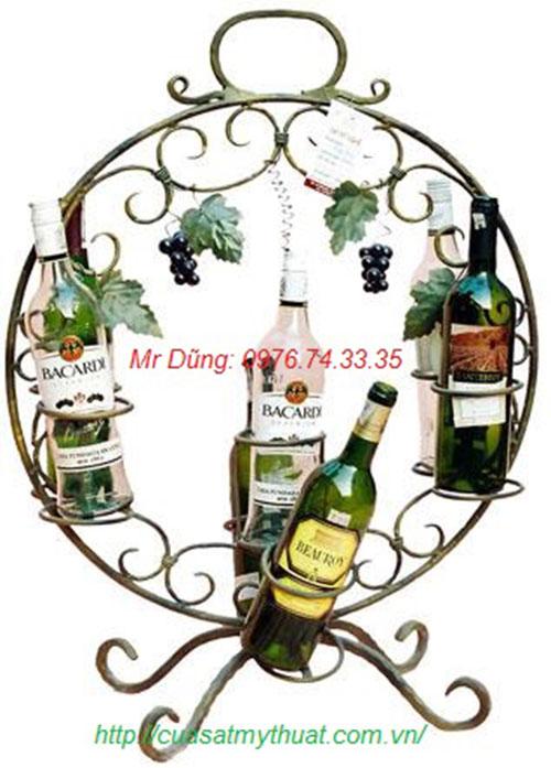 Kệ rượu sắt mỹ thuật