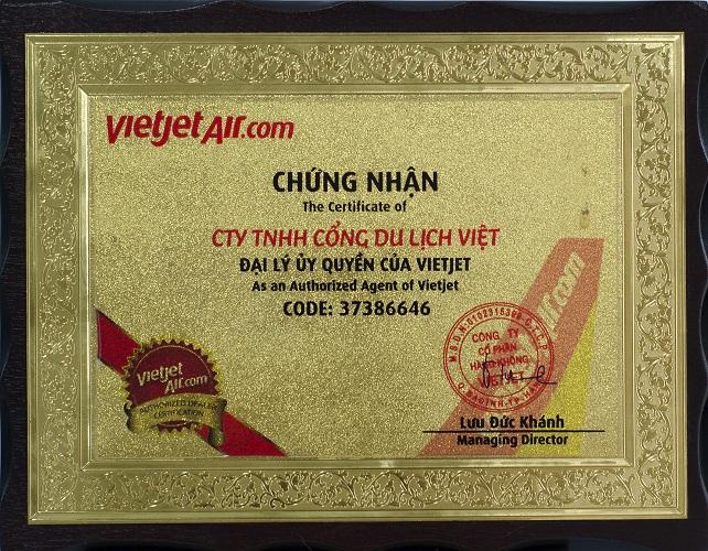 Chứng nhận đại lý ủy quyền Vietjet