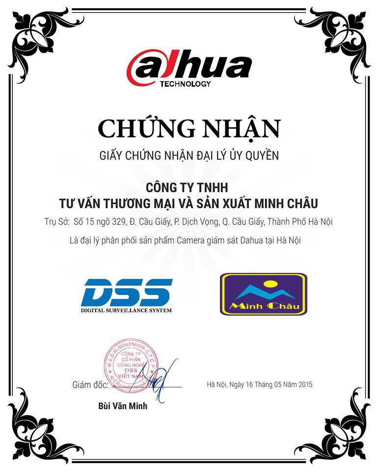 Chứng nhận đại lý phân phối camera Dahua