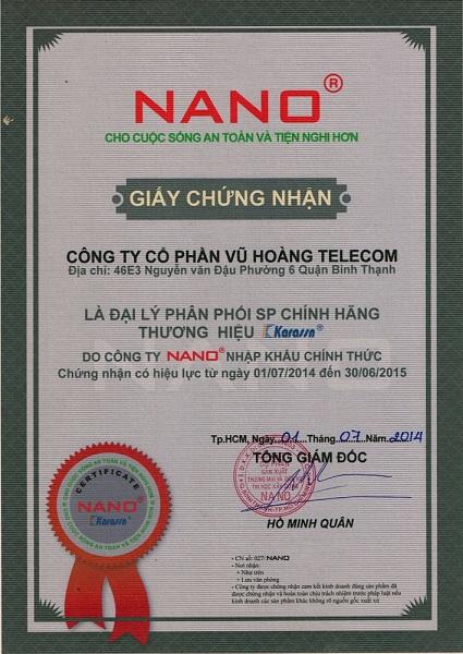 Chứng nhận đại lý từ Nano